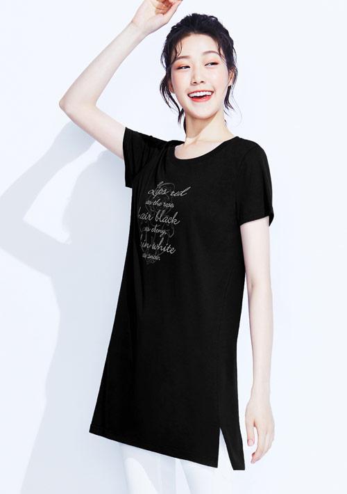迪士尼公主系列純棉長版印花T恤-01