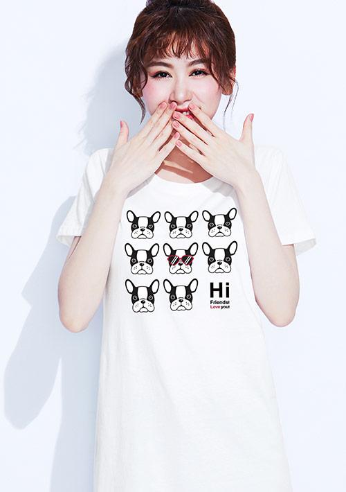狗狗純棉長版印花T恤