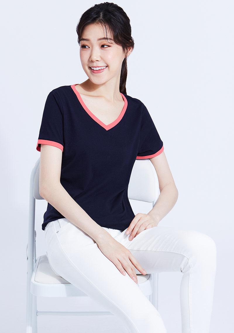 羅紋配色V領純棉T恤