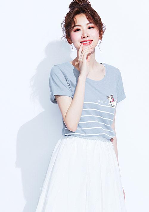 迪士尼Marie系列竹節棉印花T恤-01