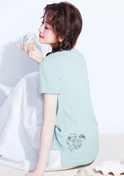 迪士尼公主系列竹節棉印花T恤-02