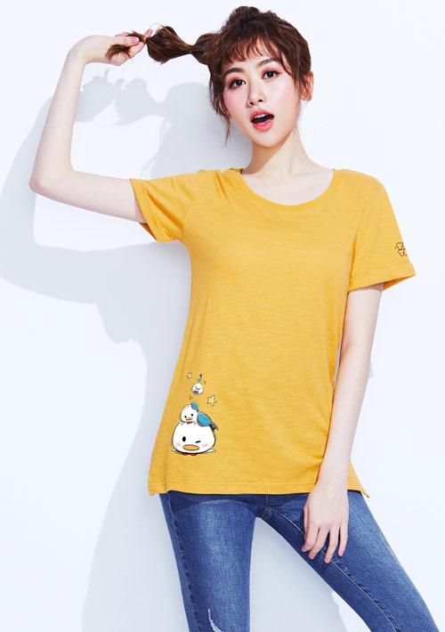 Tsum Tsum系列竹節棉印花T恤-04