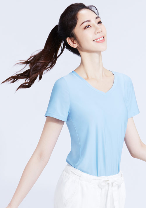 特級彈性吸排涼感V領短袖T恤