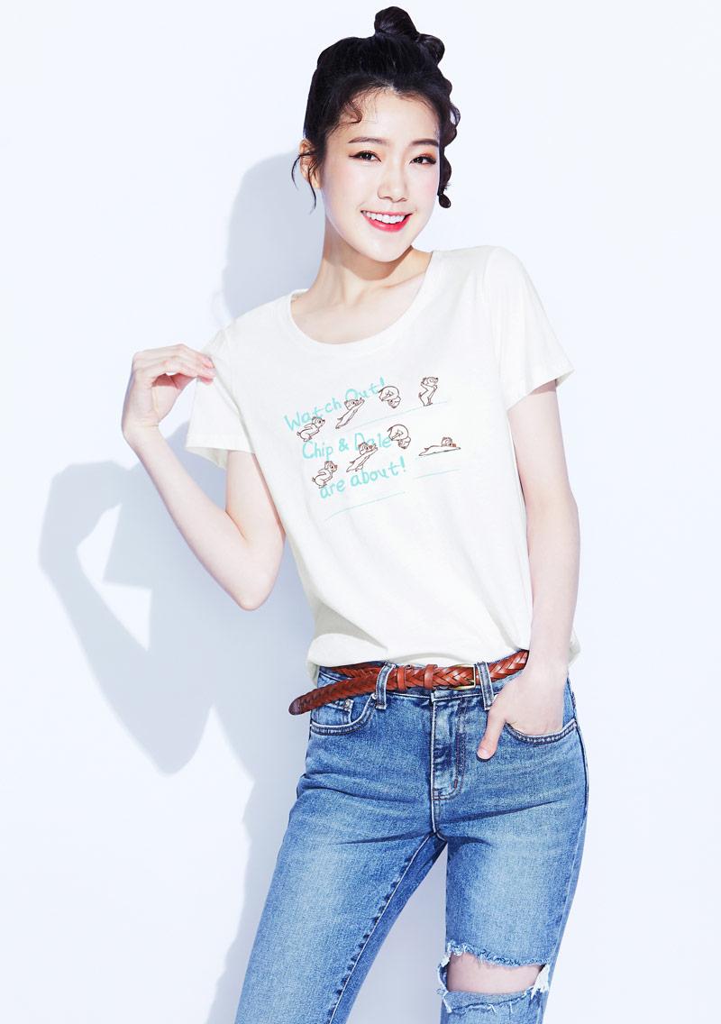 迪士尼奇奇蒂蒂系列純棉印花T恤-01