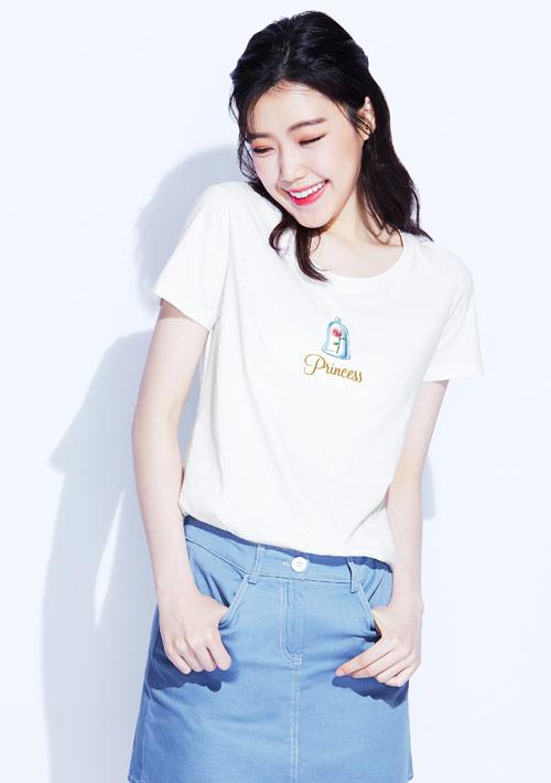 迪士尼公主系列純棉印花T恤-03