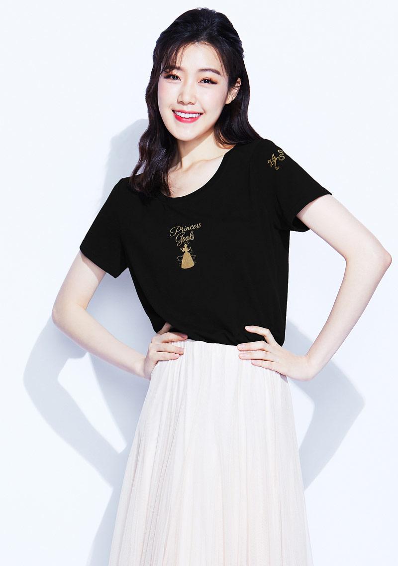 迪士尼公主系列特級四面彈性印花T恤-01