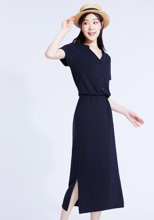 特級四面彈性開襟長洋裝