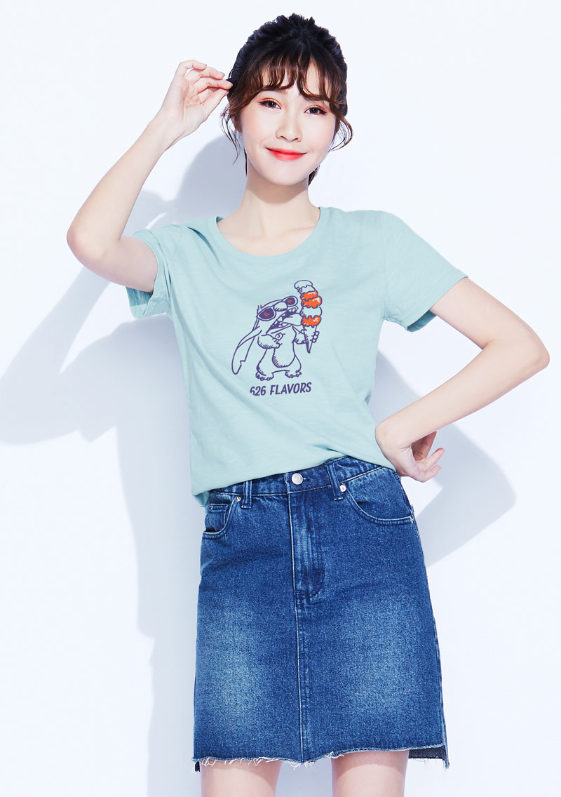 迪士尼史迪奇系列竹節棉印花T恤-01