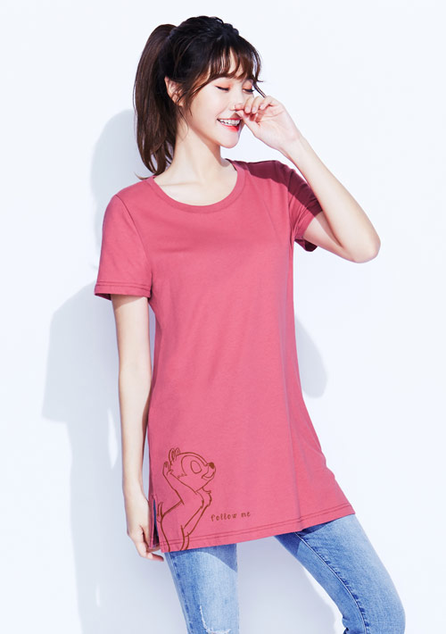 迪士尼奇奇蒂蒂系列純棉長版印花T恤-01