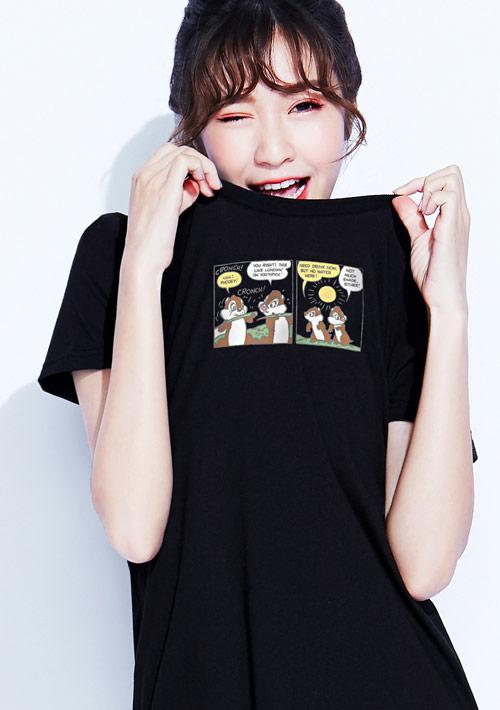 迪士尼奇奇蒂蒂系列純棉長版印花T恤-02