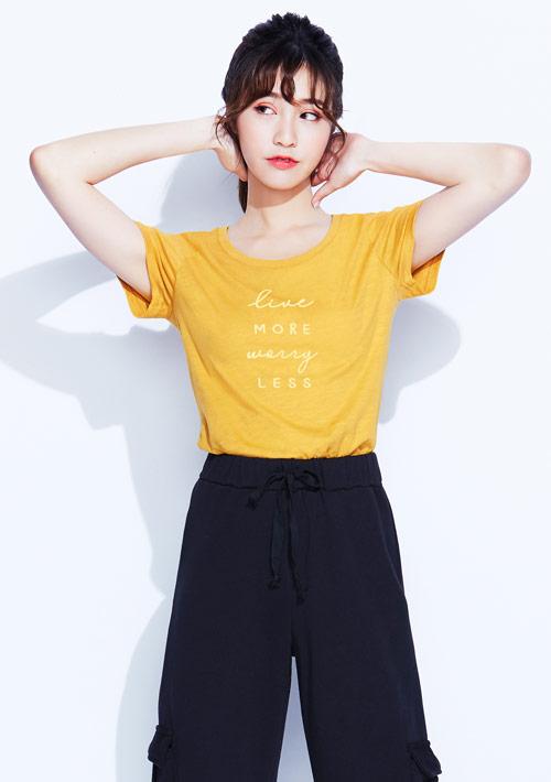 字母竹節棉印花T恤