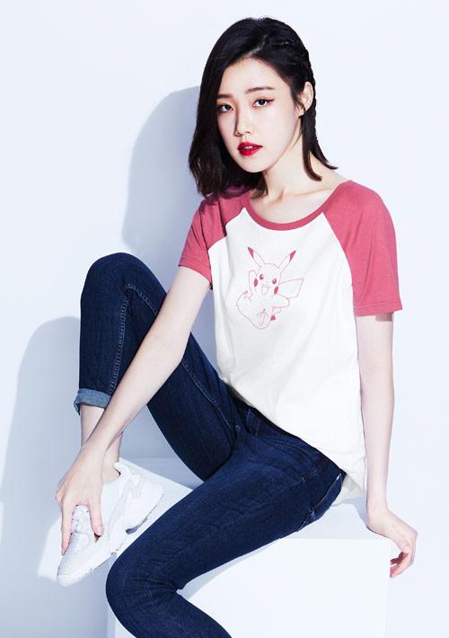 寶可夢系列純棉配色長版印花T恤-01
