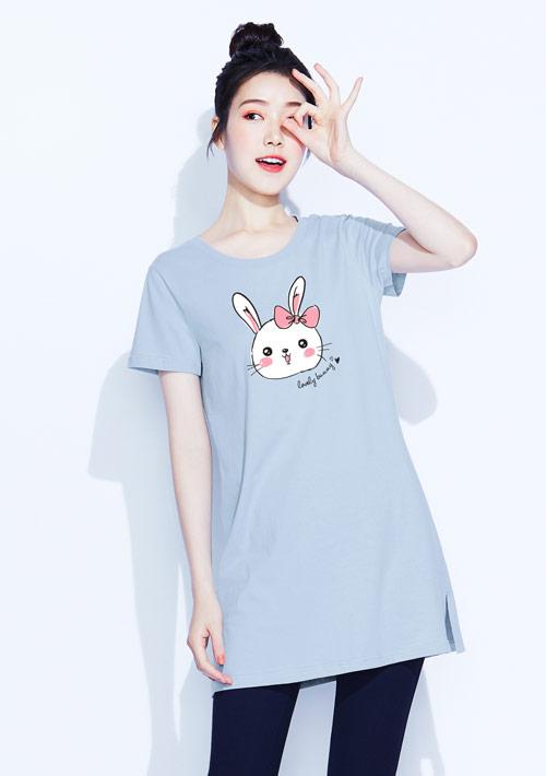 兔兔純棉長版印花T恤
