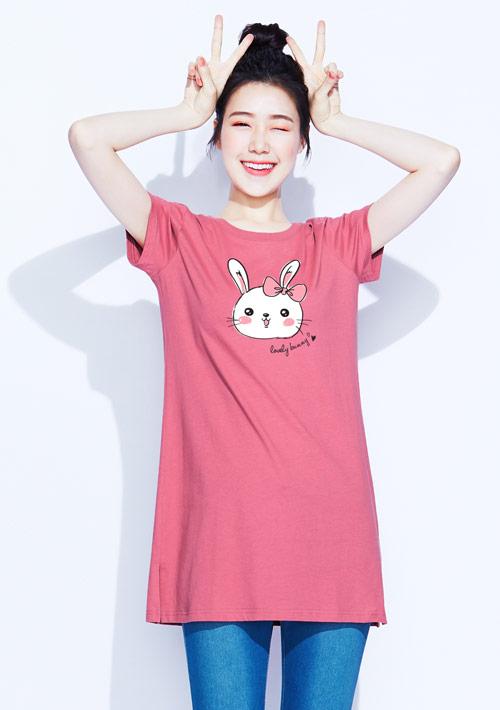 【限48HR$168】兔兔純棉長版印花T恤