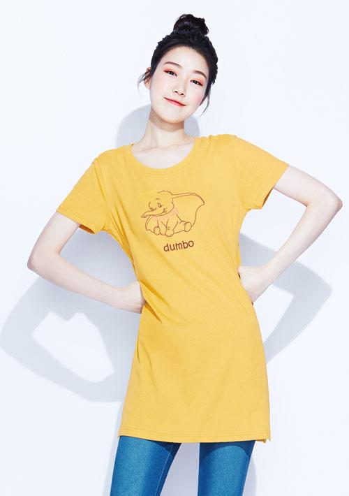 迪士尼小飛象系列純棉長版印花T恤-01