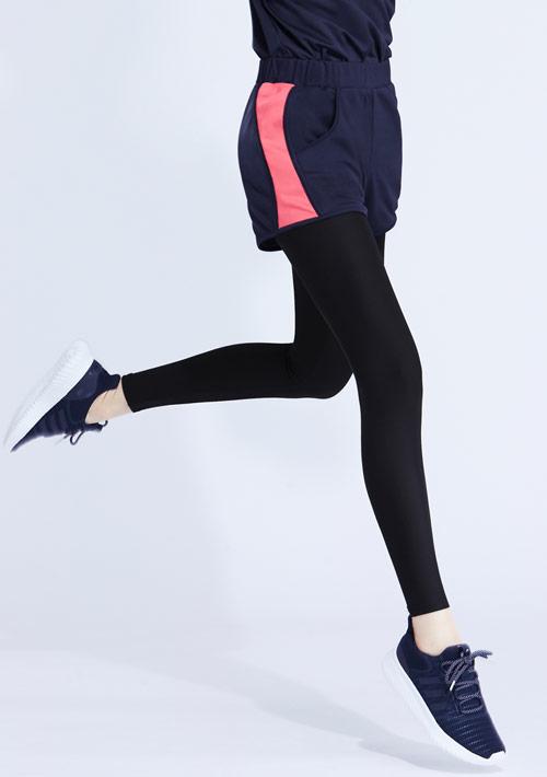 特級彈性吸排涼感配色假兩件長褲