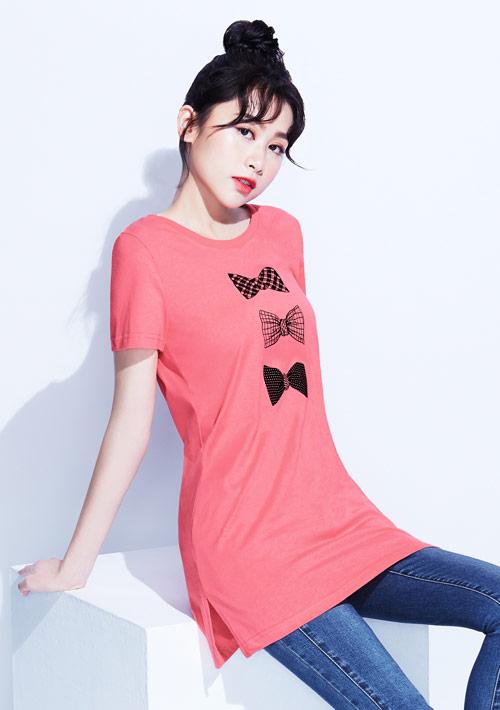 蝴蝶結純棉長版印花T恤