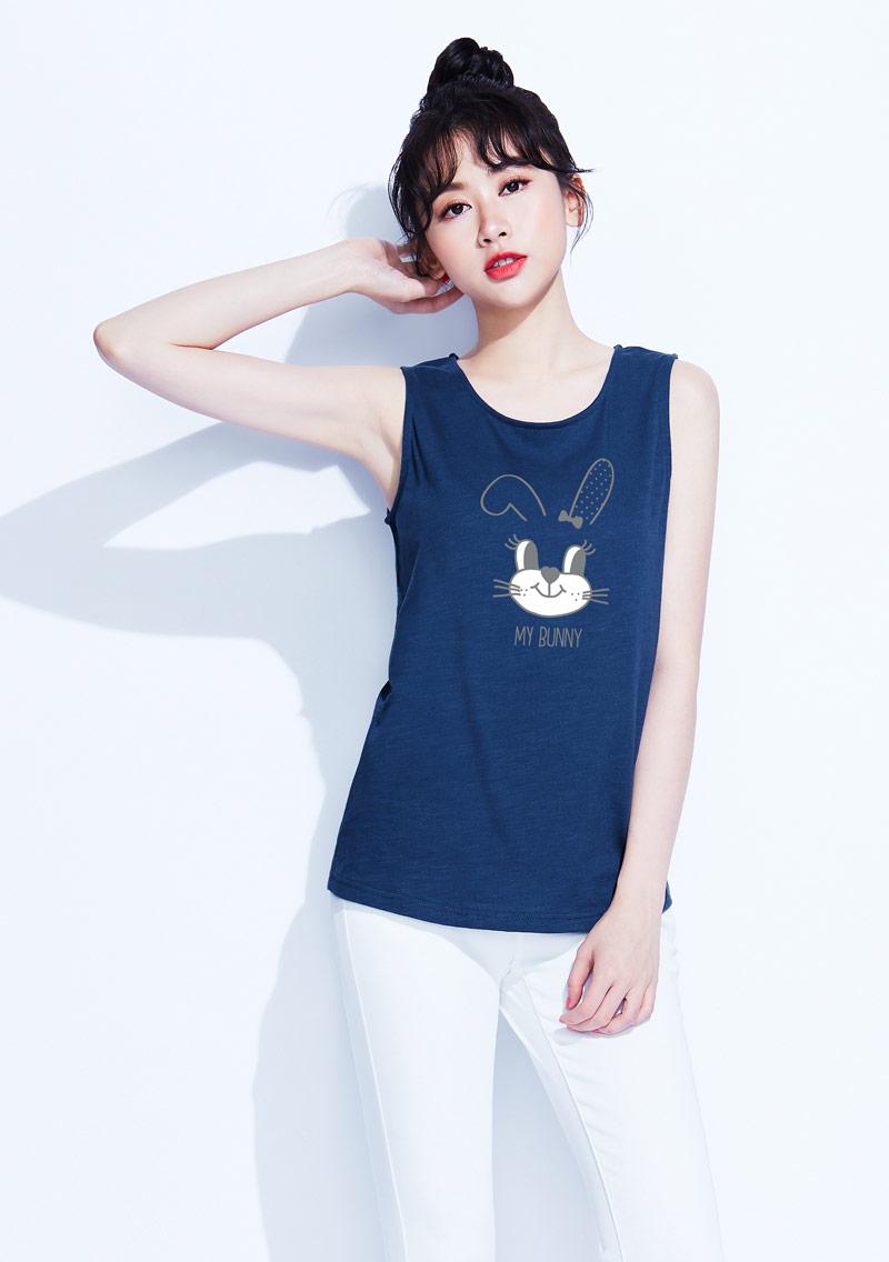 兔兔竹節棉印花背心