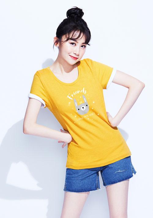 兔子竹節棉印花T恤