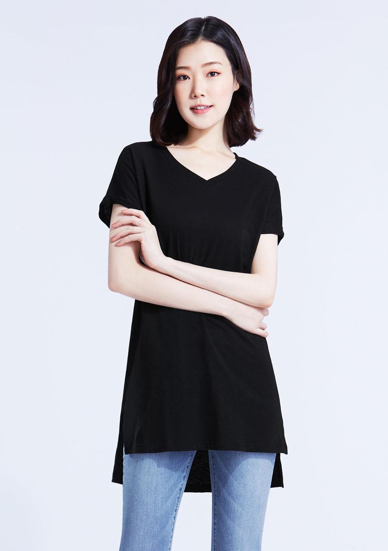 竹節棉V領寬版T恤