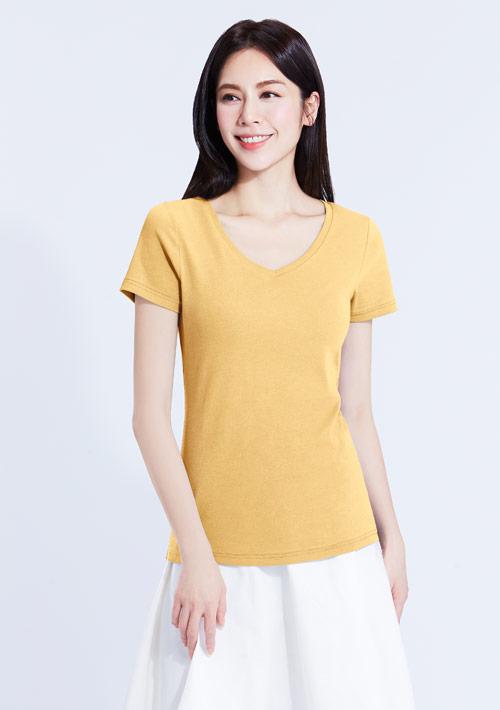 特級棉羅紋V領T恤