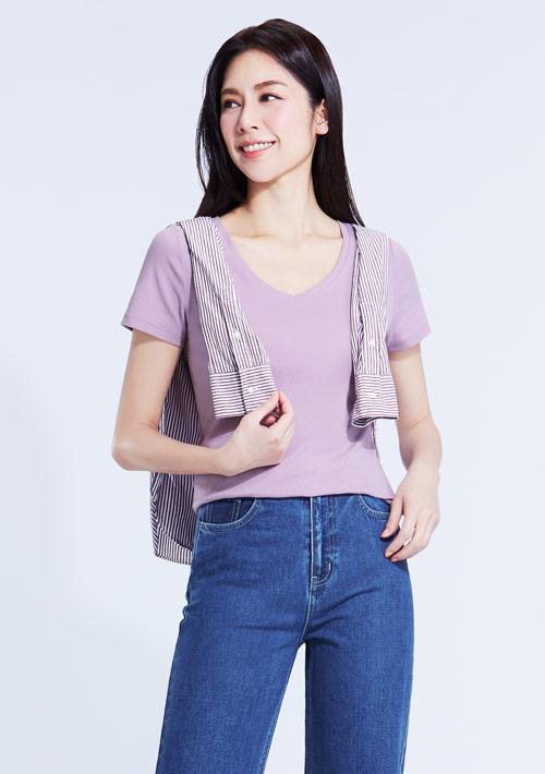 Combed 棉羅紋V領T恤