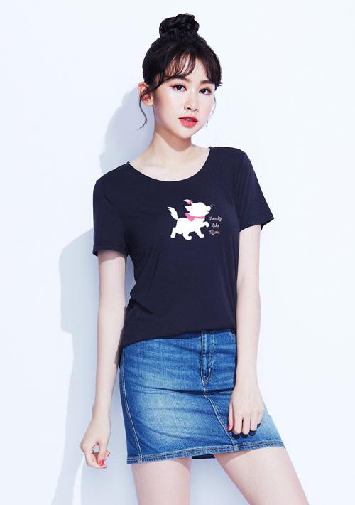 迪士尼Marie系列莫代爾印花T恤-01