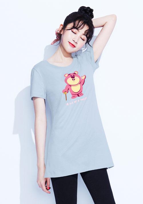 迪士尼熊抱哥系列純棉長版印花T恤-01