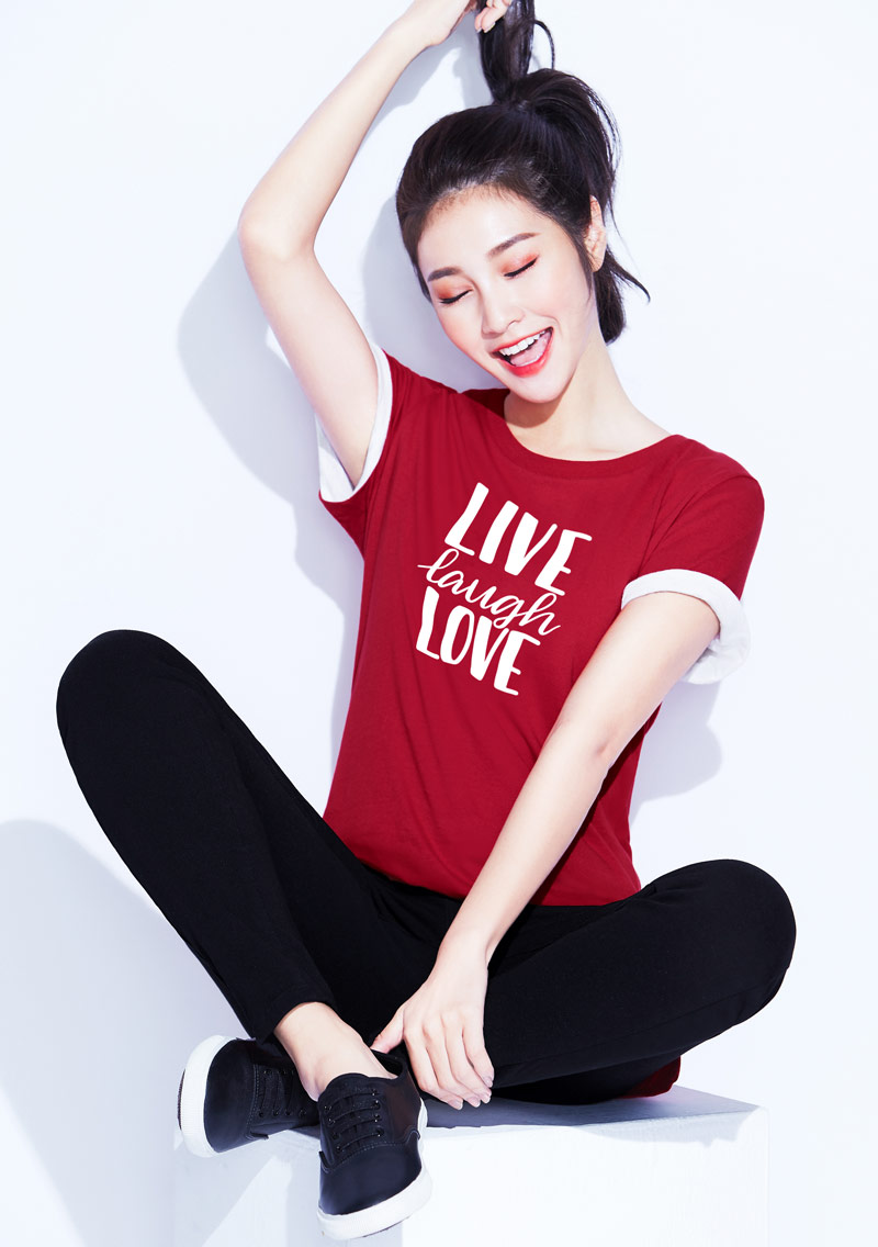 文字純棉長版印花T恤