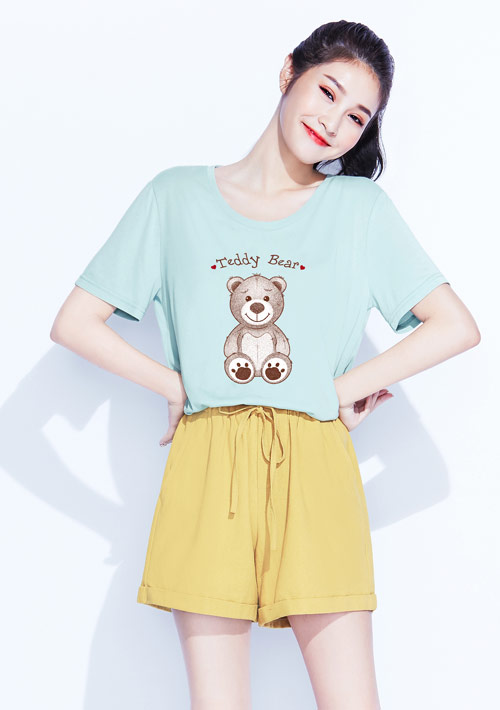 【限時$168】莫代爾熊熊印花圓領寬版上衣