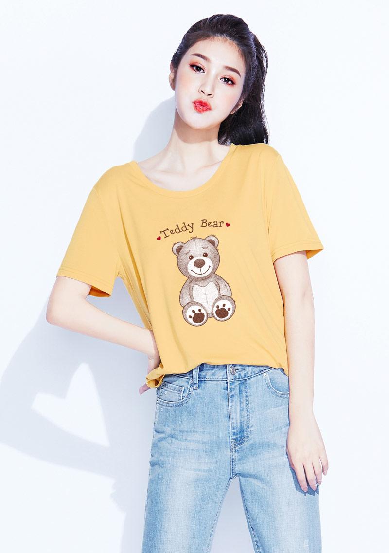 【限時$199】莫代爾熊熊印花圓領寬版上衣