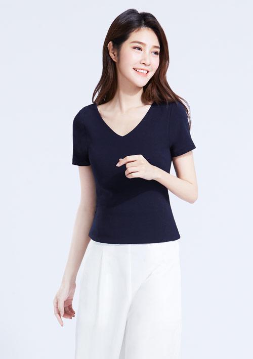 特級棉羅紋V領造型T恤