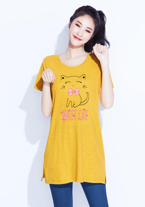 貓咪竹節棉長版印花T恤