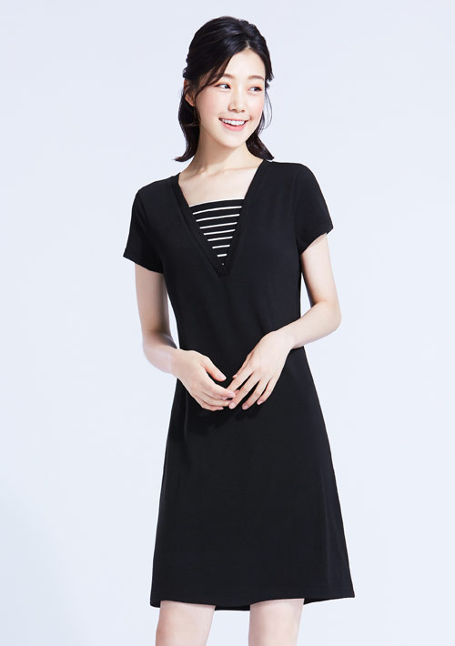 特級四面彈性條紋配色洋裝