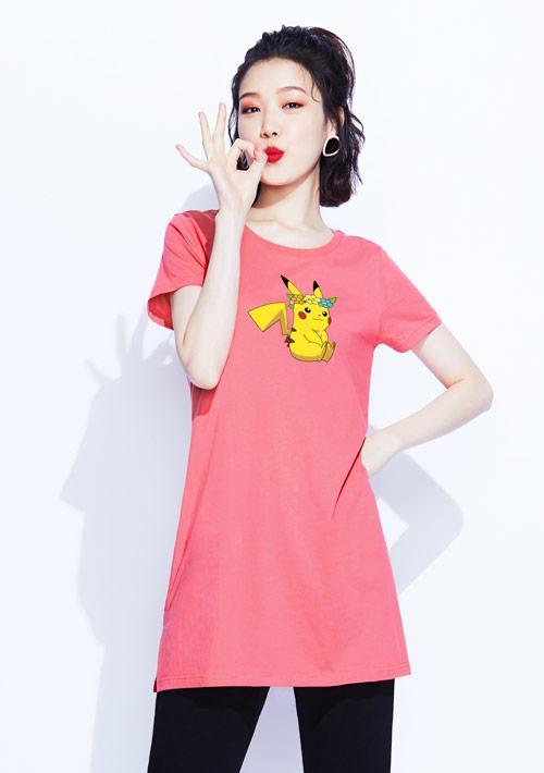 寶可夢系列純棉長版印花T恤-01