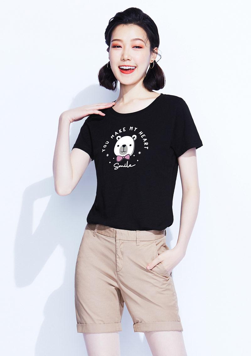 熊熊竹節棉印花T恤