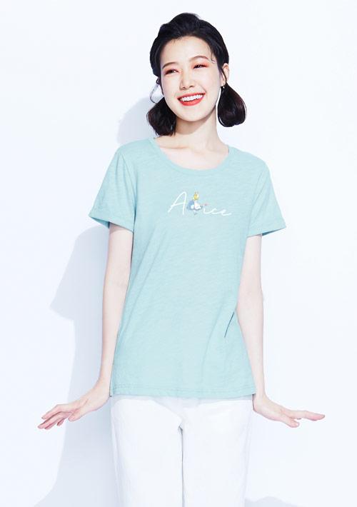 迪士尼愛麗絲系列竹節棉印花T恤-03