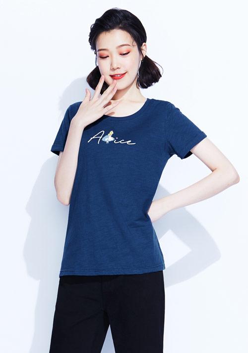 【限時$168】迪士尼愛麗絲系列竹節棉印花T恤-03