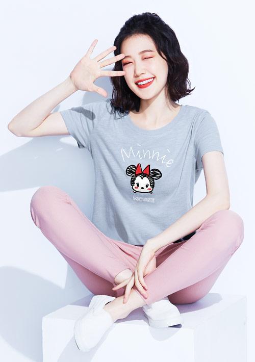 Tsum Tsum系列竹節棉長版印花T恤-01