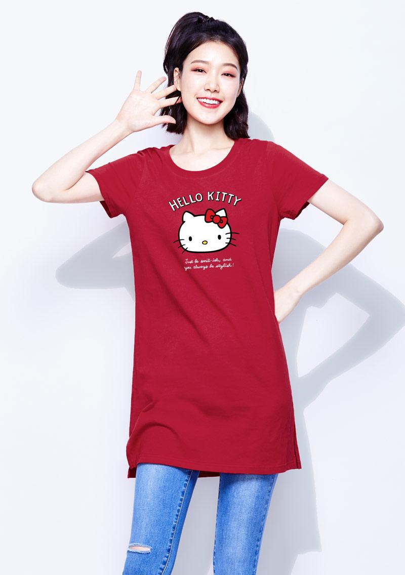 Hello Kitty 純棉長版印花T恤-01