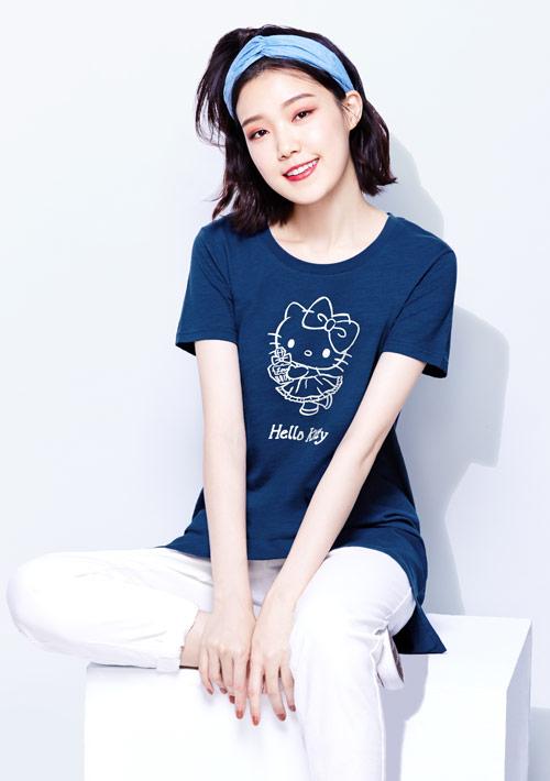 Hello Kitty 竹節棉長版印花T恤-01