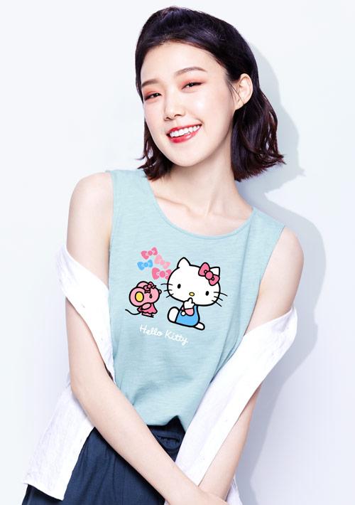 Hello Kitty 竹節棉印花背心-01