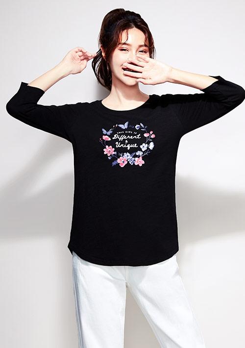 花卉竹節棉七分袖印花T恤