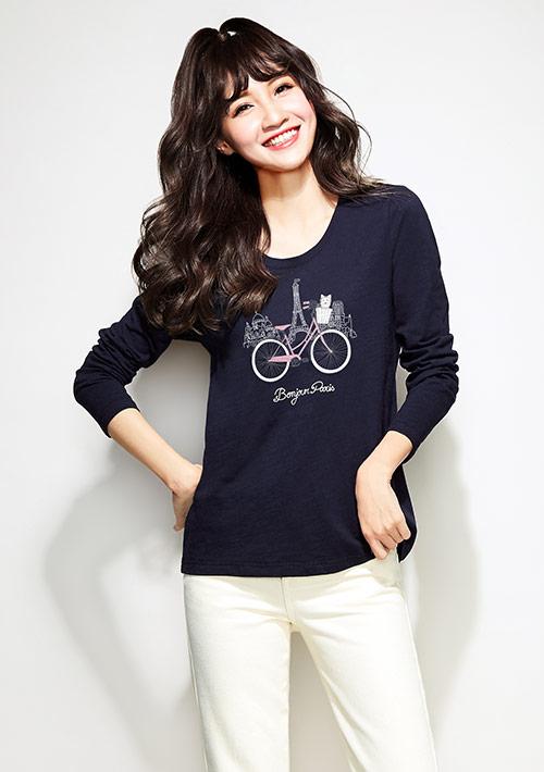 巴黎印象竹節棉長袖印花T恤