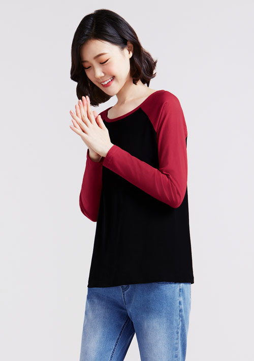 純棉配色長袖T恤