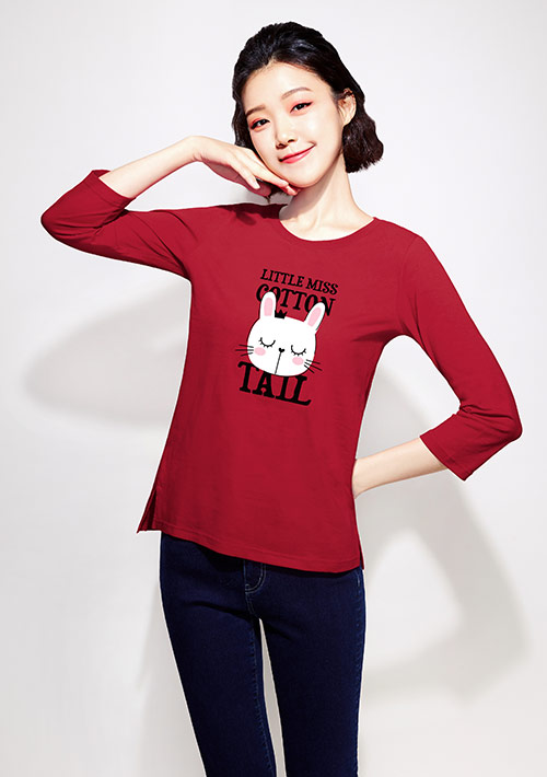 兔子純棉七分袖印花T恤