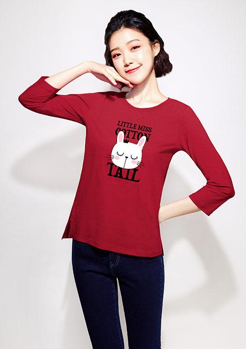 【限時$168】兔子純棉七分袖印花T恤