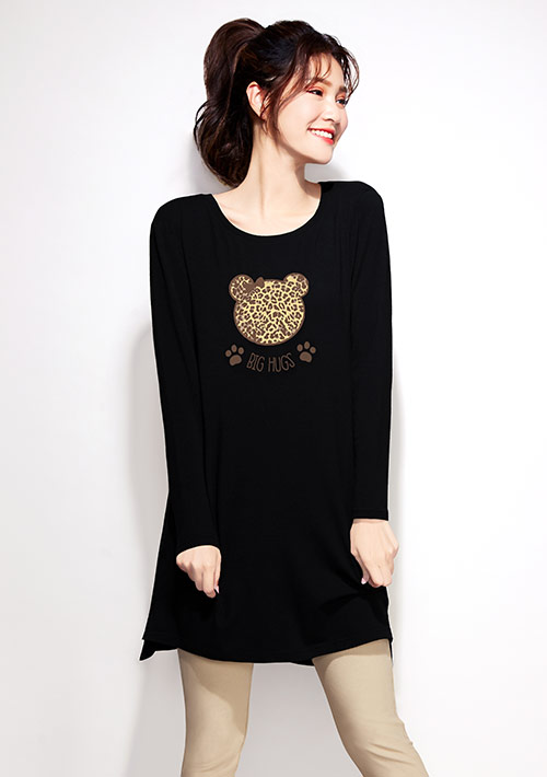 豹紋熊熊特級四面彈性長版印花T恤