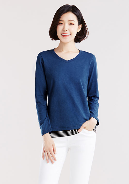 【限時$168】竹節棉條紋配色長袖上衣