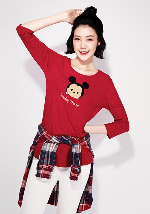 Tsum Tsum系列竹節棉七分袖印花T恤-03
